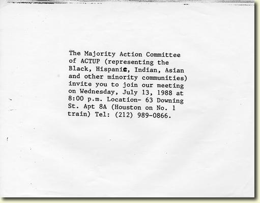 Invitation to ACT UP Majority Action Committee Meeting, July 13, 1988.