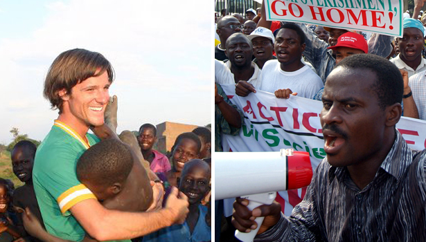Left-Invisible Childrens Jason Russell. Right, a protest leader in Lagos, Nigeria Facebook/AP